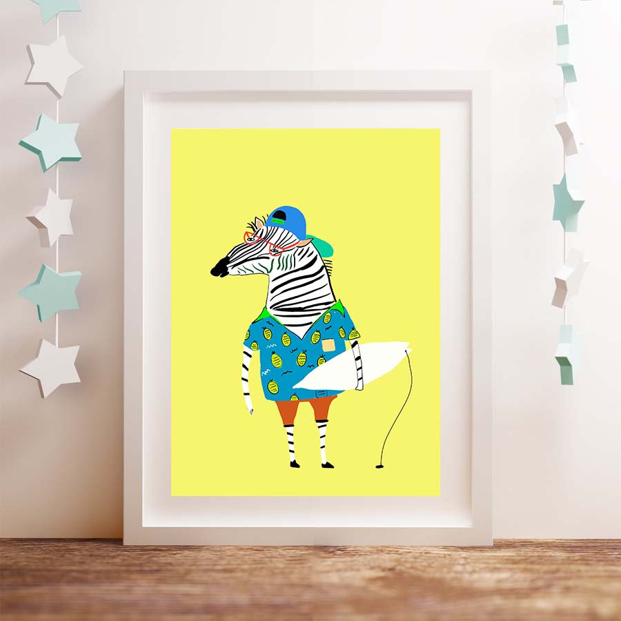 Flamingo zebra Bird bear Cartoon Animals Canvas Art Print poster ...