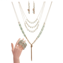 BeUrSelf Luxury Crystal Jewelry Set Multilayer Pendant Long Tassel Necklace Natural Shell Drop Earring Adjustable Beaded Bangle multilayer tassel diamante jewelry set
