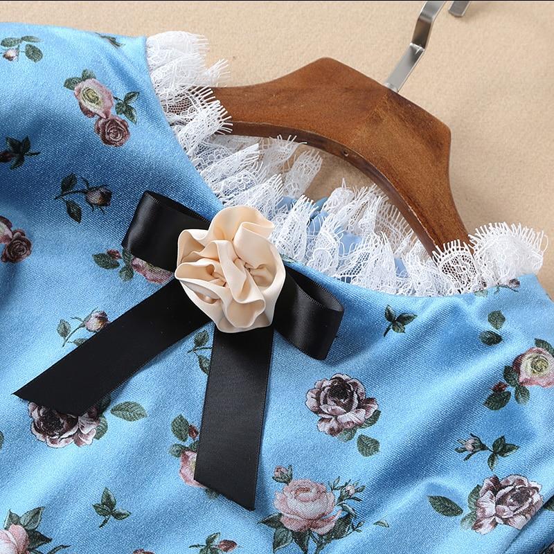 Femmes 2019 Robe Piste Manches Du Haute Été De Genou Longues Velours dessus Imprimé Robe Mode Floral Plissée Qualité Printemps Bleue À T0FFqBw5x