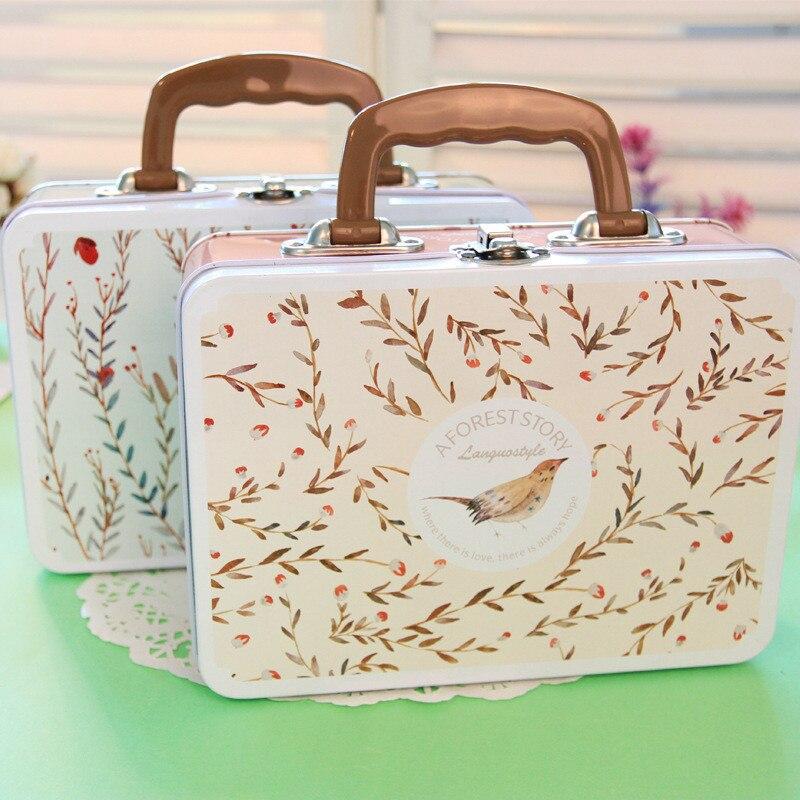 Beatifu Storage Box Mini Luggage Home/Office/School Metal Handle Tin Box Jewelry Candy Stationery Holder Multifunction Organizer