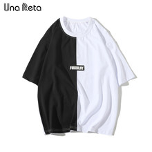 Una Reta Mens T Shirts Hip Hop Short Sleeve O-Neck Tops Tees 2019 New Color stitching Mens Casual Summer Lovers T shirt(China)