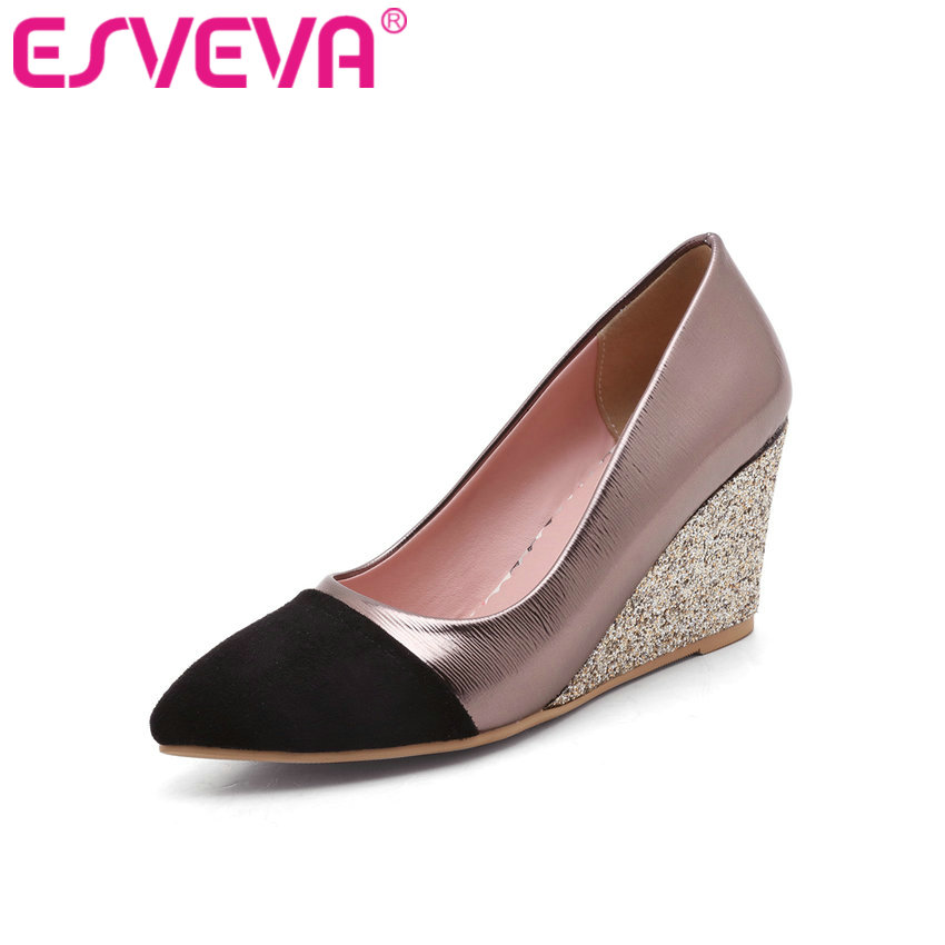 ФОТО ESVEVA 2017 Mixed Color Spring Autumn Shoes PU+Flock Women Pumps  Wedges High Heel Women Shoes Pink Wedding Shoes Big Size 34-43