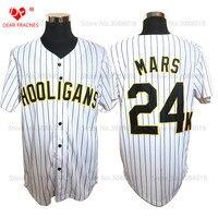 Glod Edge Bruno Mars 24K Hooligans White 20 Pinstriped BET Awards Baseball Jersey Throwback For Men