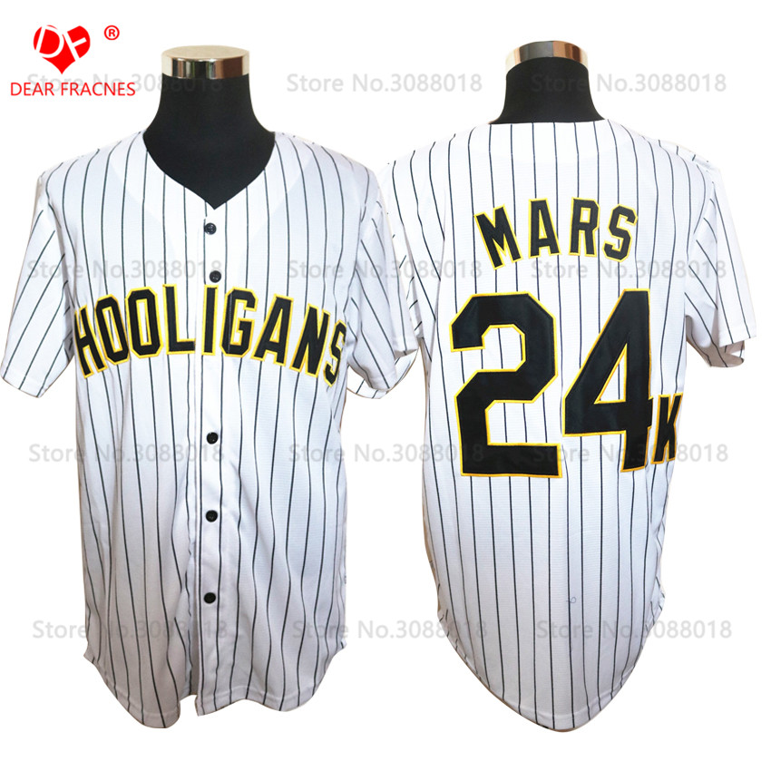 Glod Edge Bruno Mars 24K Hooligans White #20 Pinstriped BET Awards Baseball Jersey Throwback For Men Stripe Stitched Button Down