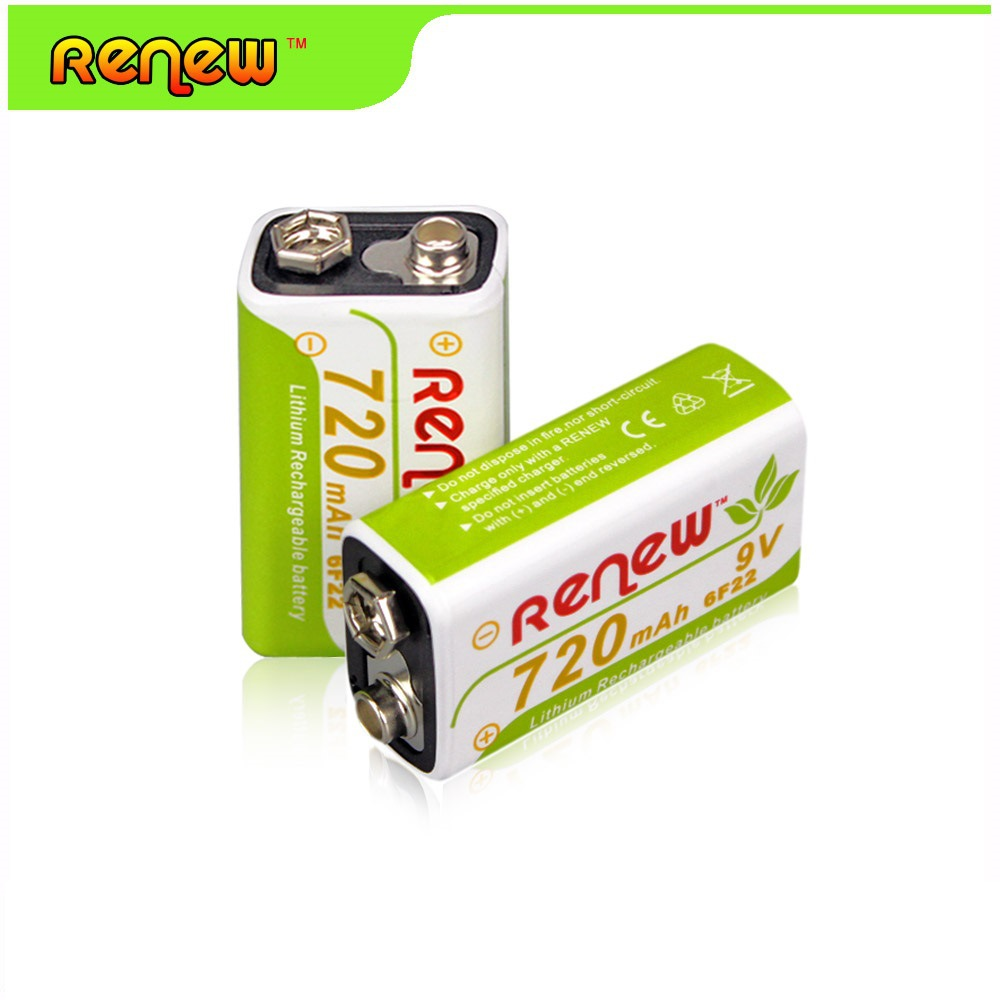 Hot Selling 2pieces 720mah Li Ion 9v Rechargeable