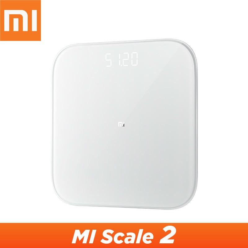 Оригинальный Xiaomi Mijia Scale 2 Bluetooth 5,0 Смарт Весы Цифровой светодиодный дисплей работает с приложением Mi fit для домашнего фитнеса