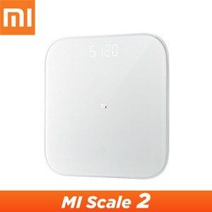 Image 1 - Оригинальные весы Xiaomi Mijia Scale 2, Bluetooth 5,0, умные весы, цифровой светодиодный дисплей, работает с приложением Mi fit для бытового фитнеса