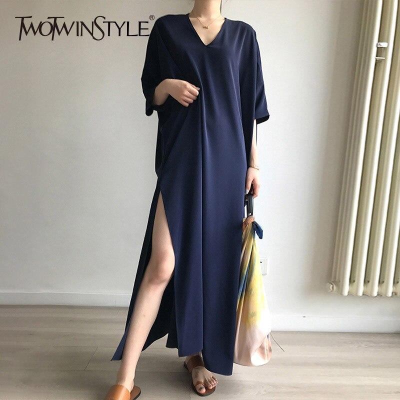 TWOTWINSTYLE High Split Dress Summer V Neck Batwing Sleeve Oversize Long Holiday Dresses 2019 Fashion Female