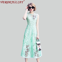 Fashion Long Dresses Sexy Women 2018 Summer Designer Lace Embroidery Diamonds Beading Hot Sale Slim White / Light Green Dress