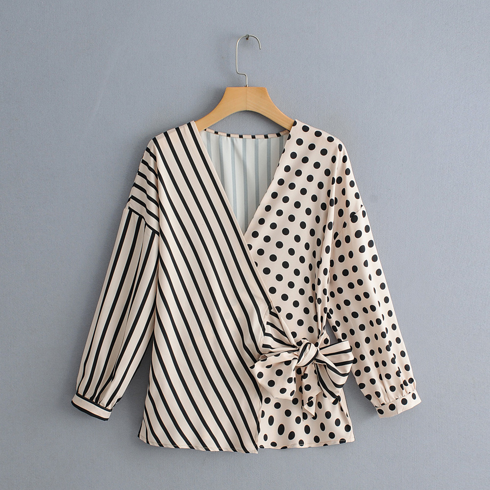 2019 Spring Summer Women Khaki Polka Dot Print Striped Patchwork Blouse Female Cross V-neck Bow Lace-up Shirts Casual Blusas