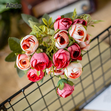 30cm/11.8in Rose White Silk Artificial Flowers Bouquet 15 Head Fake for Home Wedding Decoration Indoor Luxury Decor