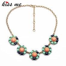 Kiss me новый дизайн классический ювелирные изделия multi смолы камень круглые цветы ожерелья & кулон 2017