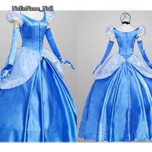 Adulto muchacha de las mujeres de princesa de cuento de hadas dress trajes de cosplay de anime cosplay ropa azul palabra de longitud vestido de noche personalizado