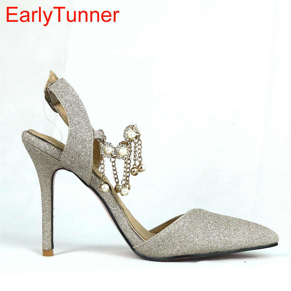 2017 Summer New Hot Sweet Gold Silver Purple Women Sandals Sexy Pearls Lady Party Slingback Shoes EMS24 Plus Big Size 12 31 47
