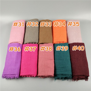 Image 5 - H8 10pcs  Crinkled hijab Wrinkle scarf Bubble cotton viscose scarf Crinkle Plain Shawl muslim Head Hijab maxi Scarf
