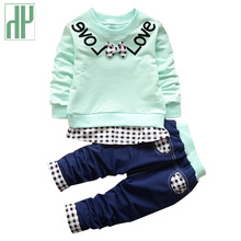 Toddler Boys clothes Plaid Gentleman Suit boutique kids clothing Long Sleeve Sports Suits Bow T-shirts + Pants girls outfits цены