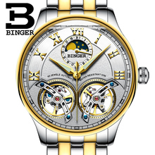 2017 NEW arrival men's watch luxury brand BINGER sapphire Water Resistant toubillon full steel Mechanical clock B-8606M-4
