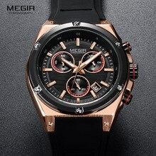 Megir กีฬาซิลิโคน Chronograph ควอตซ์นาฬิกากองทัพ Casual กันน้ำ 24 ชั่วโมงแบบอะนาล็อกนาฬิกาข้อมือสำหรับชายสีดำ Rose 2073 1N0