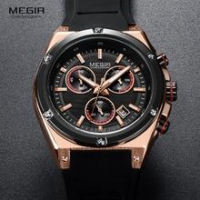 Megir esportes silicone cronógrafo relógios de quartzo exército casual à prova d24 água 24 horas relógio de pulso analógico para o homem preto rosa 2073 1n0