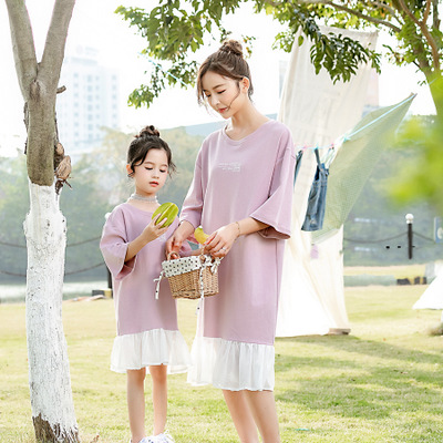 Mother and Daughter Dress Family Clothing Fashion Korean New Kids Dresses for Girls Baby Girl Patchwork Princess Sweater Dress