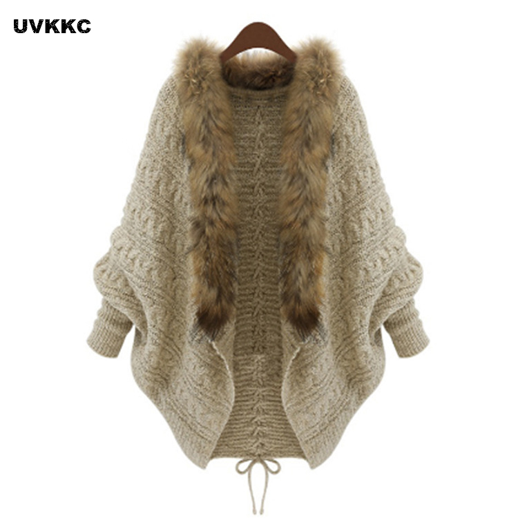 UVKKC cardigan sweaters batwing sleeve knitted women Fashion shawl sweater Autumn winter warm long sweater jumpers knitwear