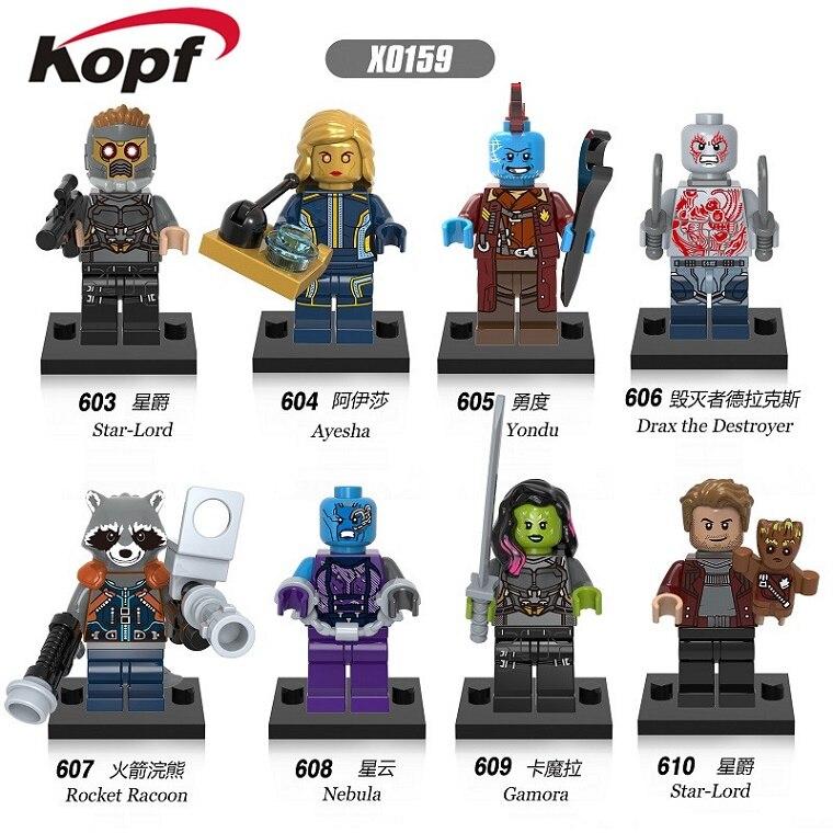 X0159 Building Blocks Super Heroes Guardians of the Galaxy Nebula Yondu Gamora Star-Lord Rocket Racoon Bricks Toys for children