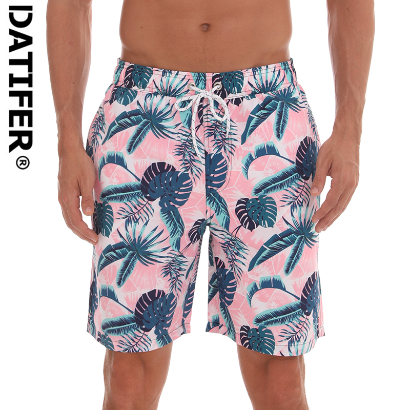 Datifer Mens Running   Shorts   Male Floral Print   Board     shorts   With Lining High Quality Elastic Swimsuit D203B