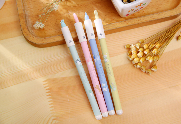 4pcs 0.35mm Novelty pot plant Gel Pen kawaii stationery Canetas for kids writing gift School Office Supply Escolar Papelaria