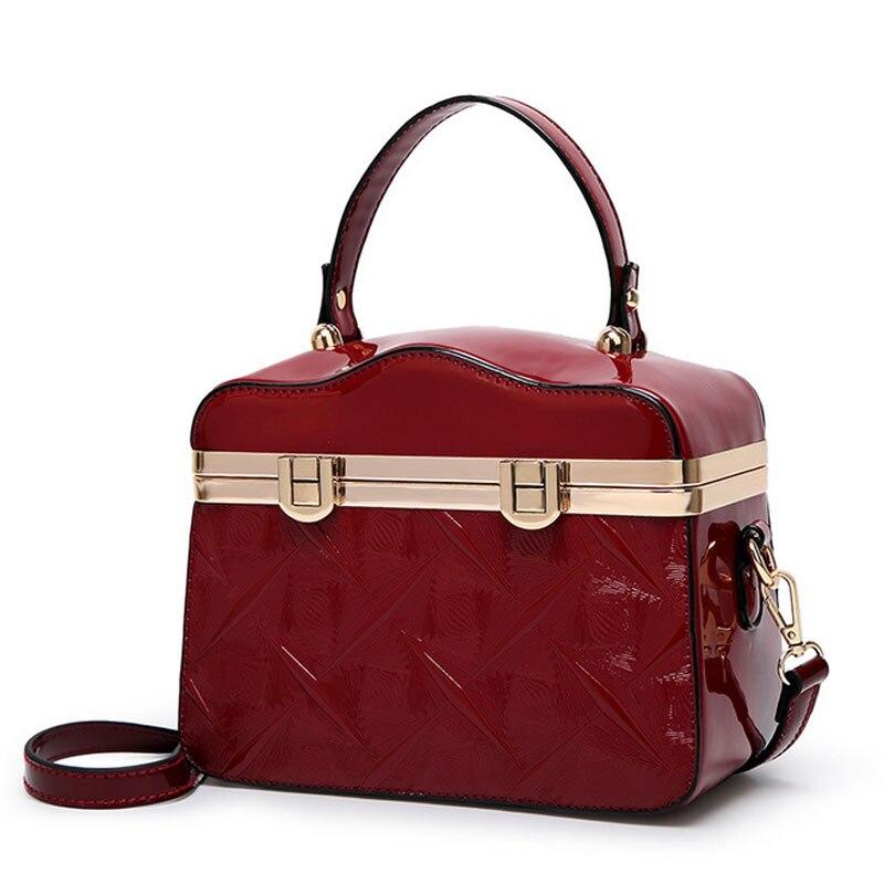 Женские сумки геометрический узор из лакированной кожи модные дизайнерские женские коробка сумки на плечо Винтаж Леди Твердые с ручкой сверху