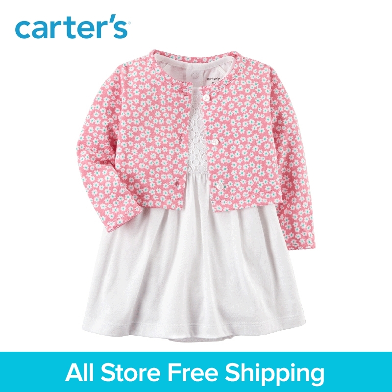 Carter's 2-Piece baby children kids clothing Girl Spring & Summer Cotton Bodysuit Lace Dress & Printed Cardigan Set 121I189 contrast lace bodysuit