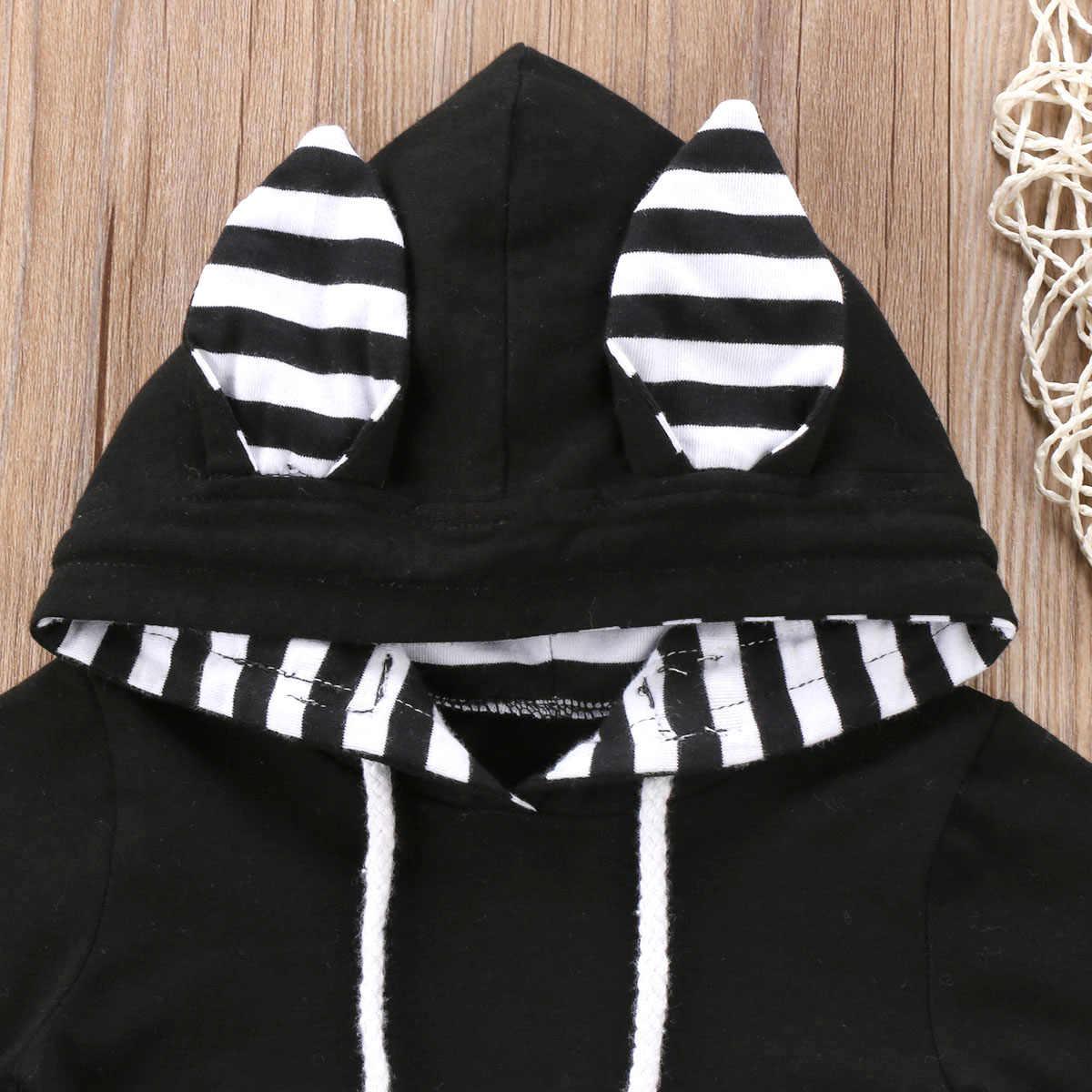 2018 комбинезон в полоску с капюшоном для новорожденных мальчиков и девочек, черный комбинезон, осенняя Милая одежда, SS