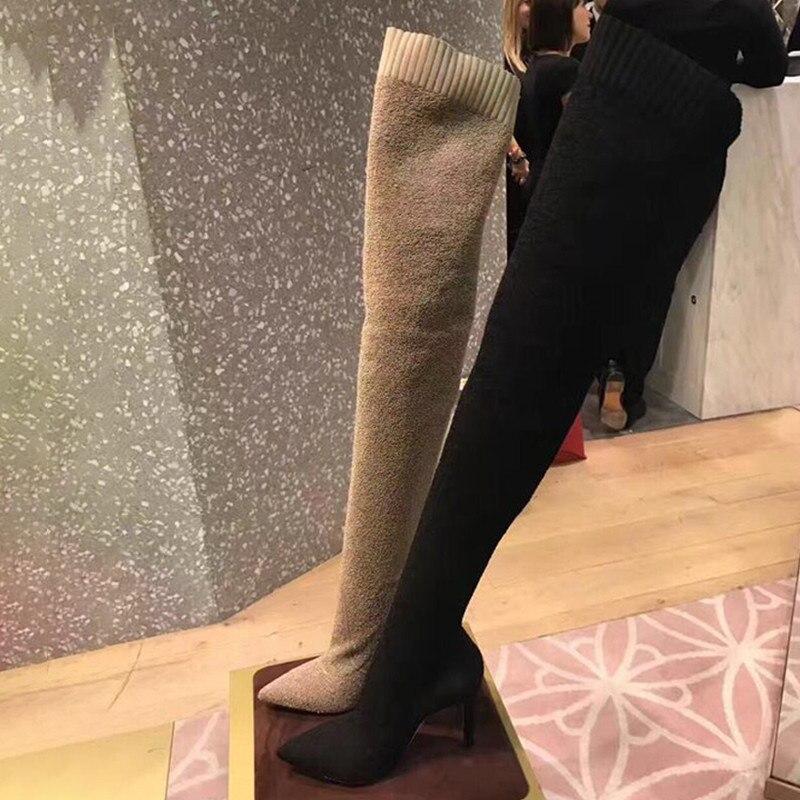 Genou Noir Talon Cuisse Khaki Sur Le Femmes Bout À Bottes S'étendent Pointu Knsvvli Hauts black Chaussettes Haute Sexy Tricot Mince Kaki Femme Talons 0wv8ynNmO