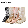 2017 New Casual Lace-Up Gladiator Sandals Big Size 11 12 Novelty Solid Wedges High women shoes woman   ladies womens