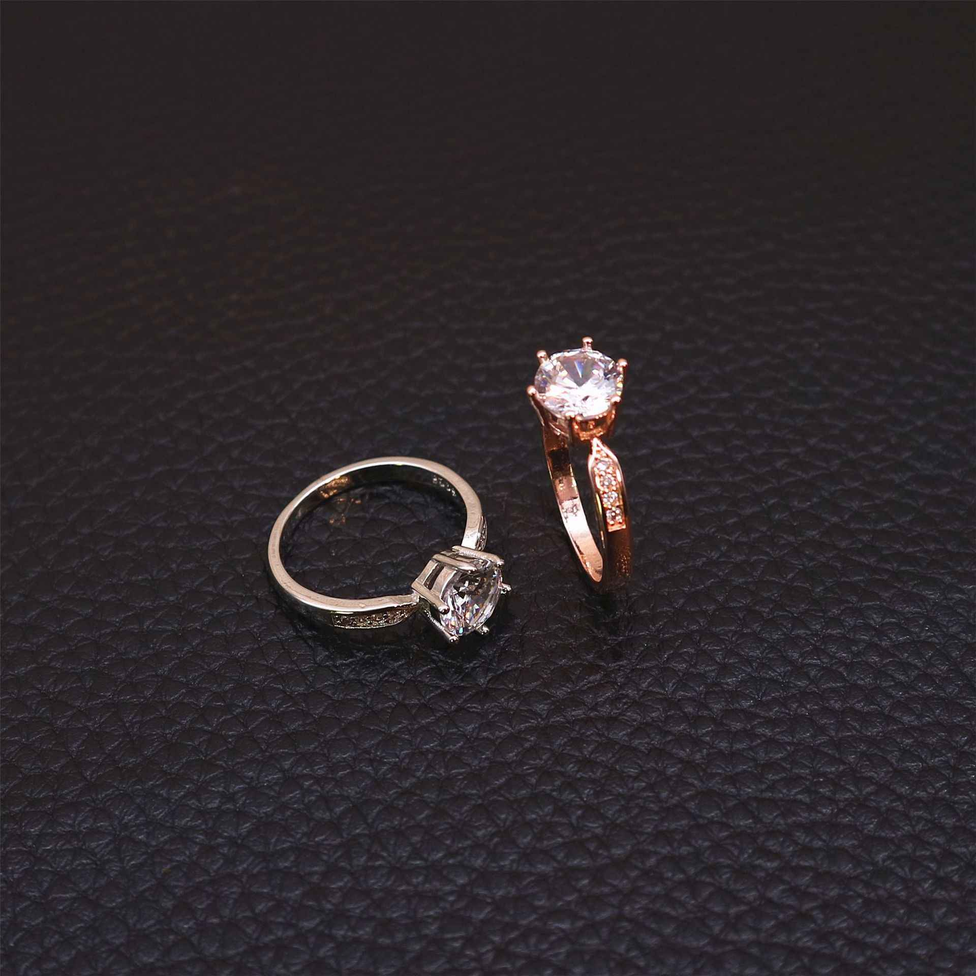 1pcs ขาย Zircon แหวนหมั้นสำหรับผู้หญิง Rose Gold สีแหวนหญิง Anel คริสตัลออสเตรียเครื่องประดับคุณภาพสูง