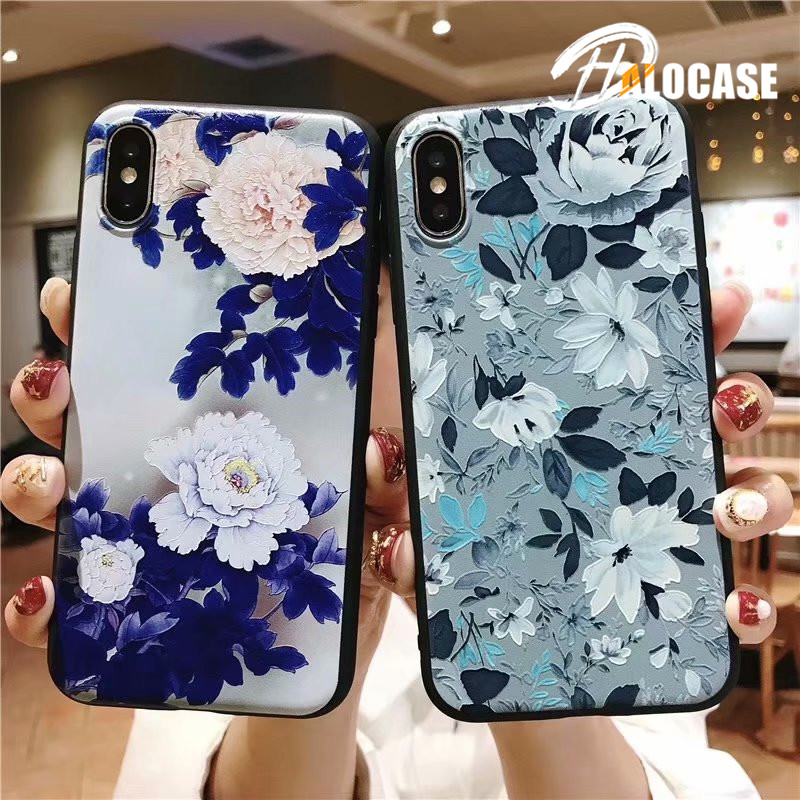 Luxury 3D Emboss Flowers Soft Case for iPhone XS MAX XR Cases  6 6S 7 8 Plus Painted Silicone Phone Cover