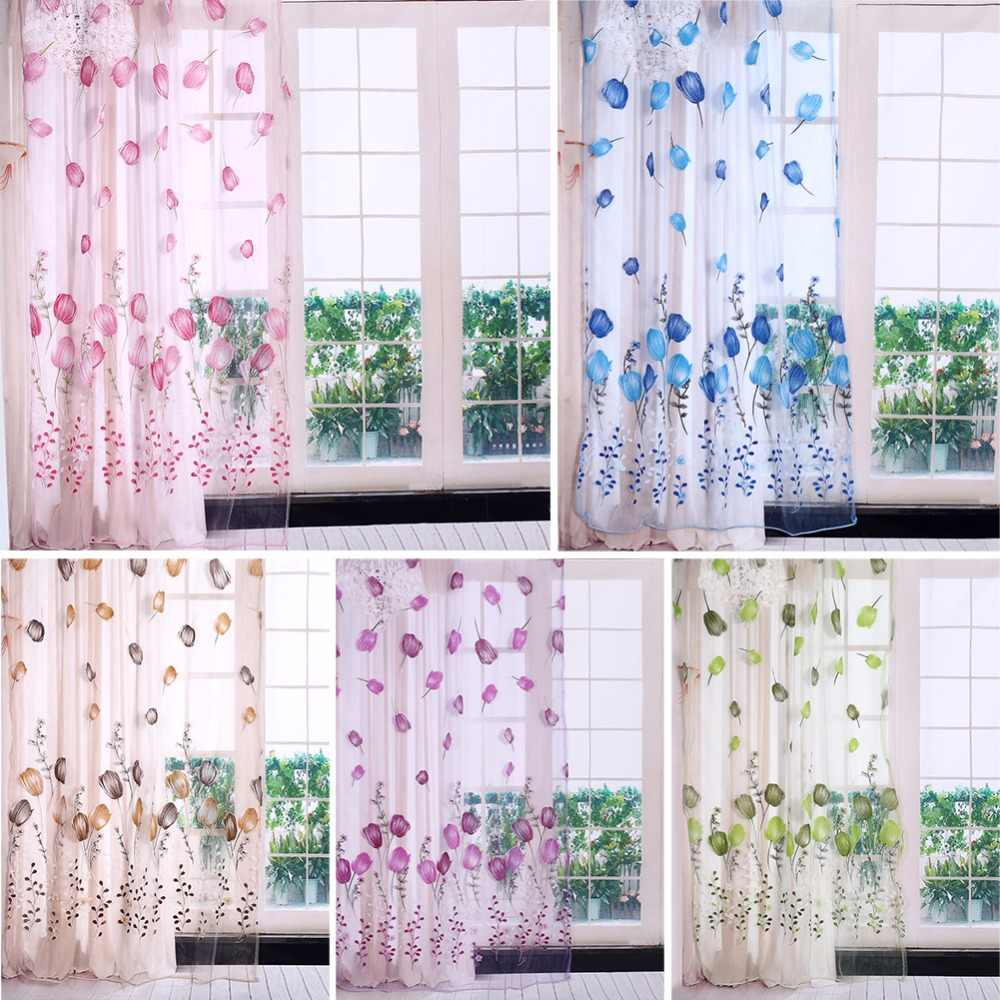 Modern Tulle Curtains Tulips Printing Short Sheer Curtains For Living Room Kid Bedroom Kitchen Window Curtains Anti Fly Mosquito