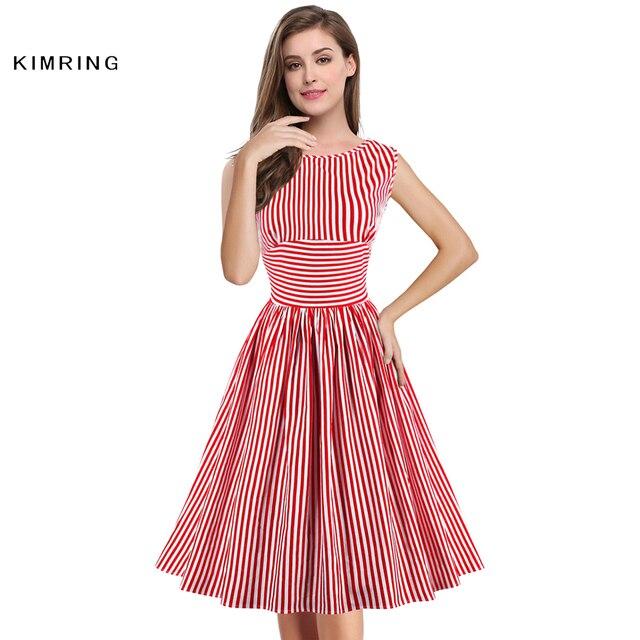 006b379fc90 Kimring Fashion Summer Dress Vintage Red White Striped Party Dresses Retro  Elegant Women s Sleeveless Swing Dress