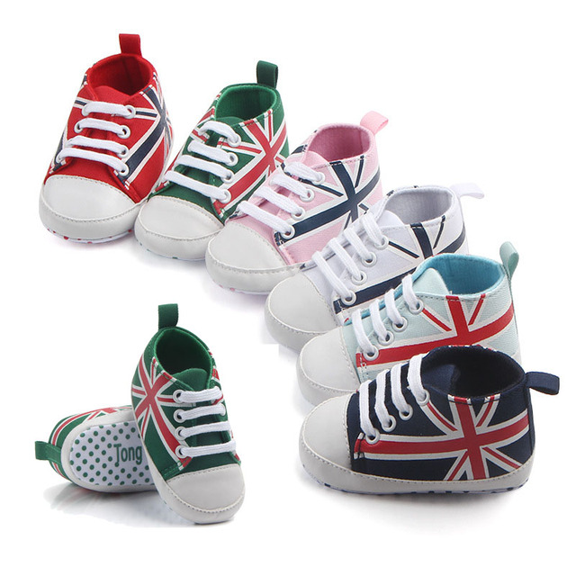 66663caee 1pair/Spring And Autumn New Rice Flag Lace Canvas Shoes Toddler Rope Soled  Shoes Hot Union Jack Pattern Baby Shoes