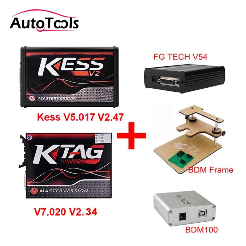 Nouveau Match Kess V2 V2.47 V5.017 + K-TAG v2.34 v7.020 K TAG ECU programmeur + FGTECH Galletto 4 Master v54 + BDM Frame + BDM 100