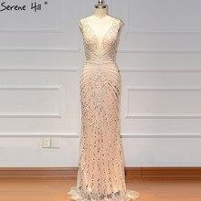ヌードシルバーノースリーブドバイデザインウエディングドレス 2020 O ネック高級ビーズダイヤモンドウエディングドレス穏やかな丘 BLA60859