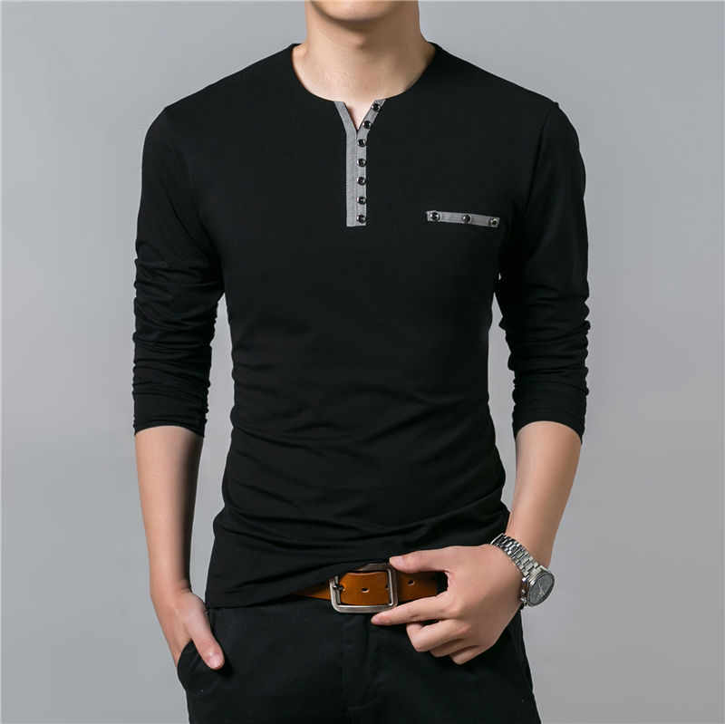 HTB1ODwaPpXXXXcUXXXXq6xXFXXXQ - COODRONY Cotton T Shirt Men 2018 Spring Autumn New Long Sleeve T-Shirt Men Henry Collar Tee Shirt Men Fashion Casual Tops 7617