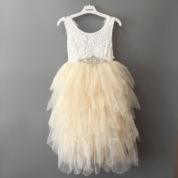 Long frocks tunics dresses Baby girl tulle dress Toddler elegant costume with crystal sashes Princess soft lace dress for girl in Dresses from Mother Kids