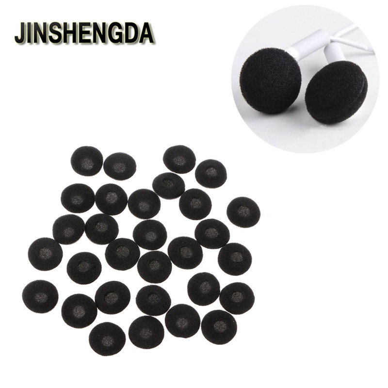 JINSHENGDA Earphone Accessory 30Pcs 15mm Soft Sponge Earphone Earbud Pad Covers Replacement For MP3 MP4 Mobile Phone 1pcs black 3 5mm 1 in 2 couples audio line earbud headset headphone earphone splitter for pad phone android mobile mp3 mp4