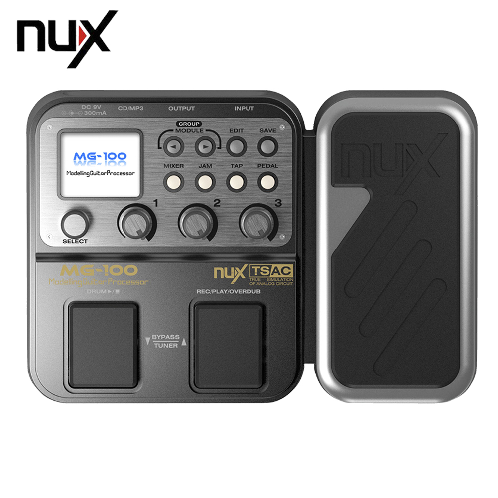 NUX MG-100 Multi-function Modeling Guitar Processor Effect Pedal Drum Tuner Recorder With 58 Effect Models 72 Preset With Power