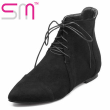 Brand 2016 Autumn Winter Boots Fashion Pointed Toe Shoes Woman Popular Lace Up Shoes Casual Flat Sole Ankle Boots Size 34-43
