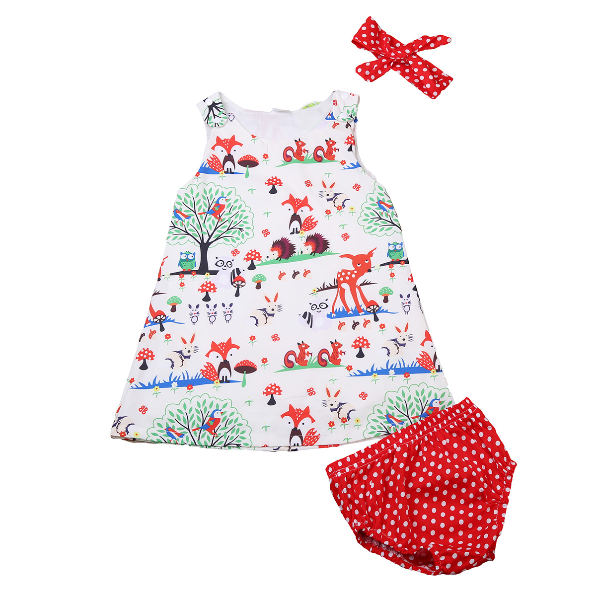 3PCS Cute Newborn Baby Girl Clothes 2017 Summer Animal Printed Dress Tops+Dots Baby Bloomers Shorts Headband Outfit Children Set 0 24m floral baby girl clothes set 2017 summer sleeveless ruffles crop tops baby bloomers shorts 2pcs outfits children sunsuit