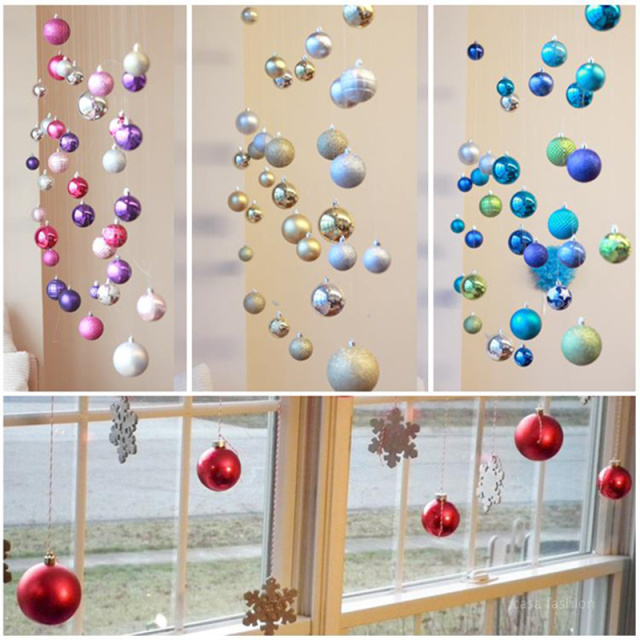 15pcs colorful diy decorating christmas balls hanging for Hanging christmas decorations