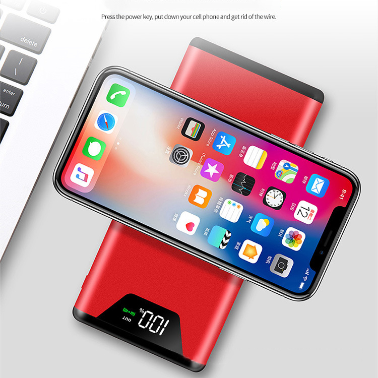 10000mah Qi Wireless Charger Power Bank Portable Dual USB with Digital Display External Battery Powerbank for iphone X 8 Samsung
