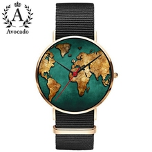 купить Avocado 2019 New Travel Watch World Map Quartz Watch DW Nylon Black Strap Minimal Wristwatches дешево