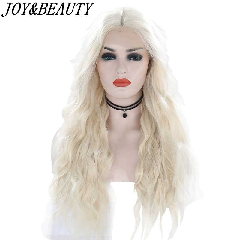 "JOY&BEAUTY 26"" Black Beige Gray Brown Natural Water Wave Hair Women Makeup Wedding Party Gift Synthetic Lace Front Daily Wigs"